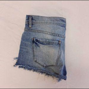 Free People Medium Wash Jean Shorts